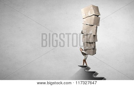 Woman carry carton boxes