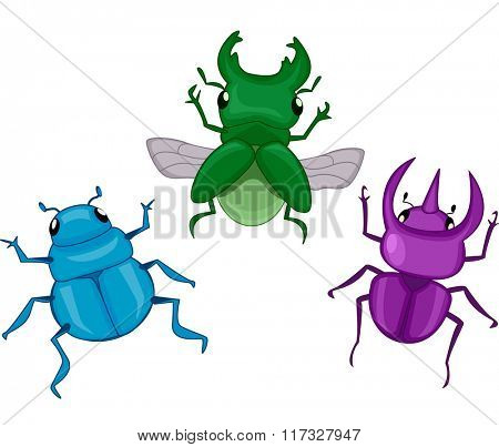 Illustration Featuring Different Types of Colorful Beetles