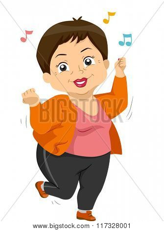 Illustration of an Elderly Woman Dancing to an Upbeat Music