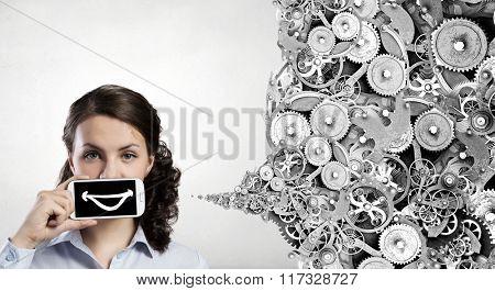 Woman presenting smartphone