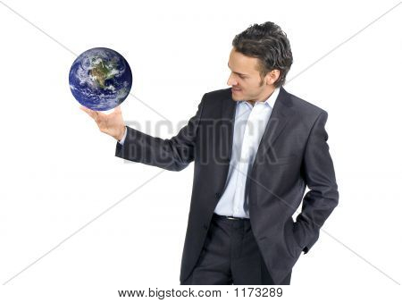 Businessman And World