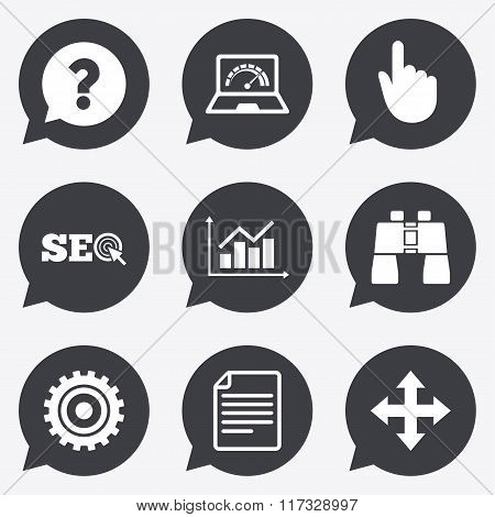 Internet, seo icons. Analysis chart sign.