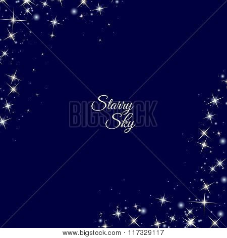 Starry frame on dark blue background