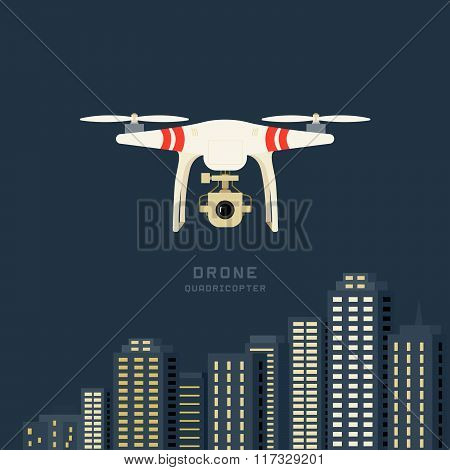 Remote Aerial Drone With A Camera Taking Photography Or Video Recording . Cityscape Background. Flat