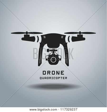 drone with action camera , logo vector