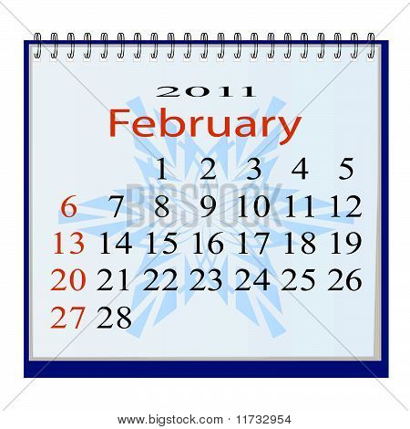 The vector image of a calendar for Febguary 2011