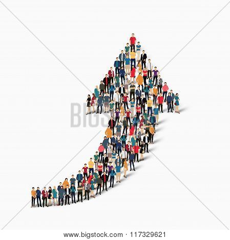 crowd people  shape  arrow direction