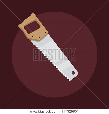 Flat Design Hacksaw Icon Isolated On Dark Background