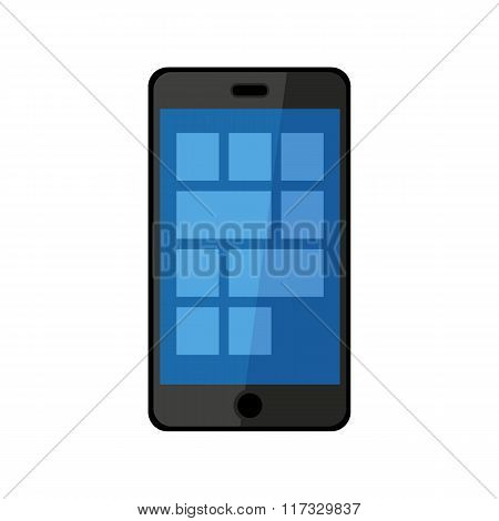 Flat Design Black Touchscreen Smartphone Icon Isolated On White Background
