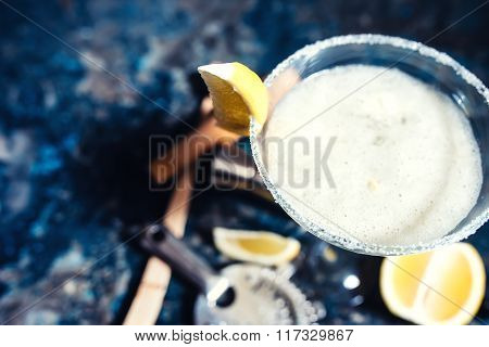 Close-up View Of Margarita Cocktail. Details Of Fancy Beverage On Metal Background
