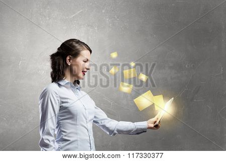 Woman using device for mailing