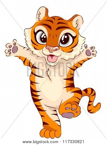 Illustration of an Adorable Tiger Waving its Paws While Standing on its Hind Legs