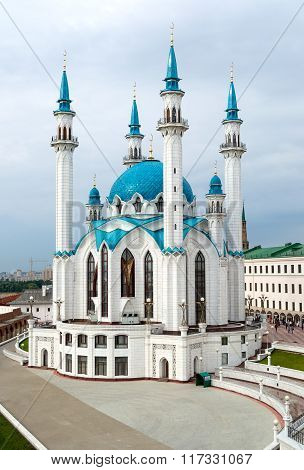Kazan Kremlin, Russia. Aerial View Of Qol Sharif Mosque