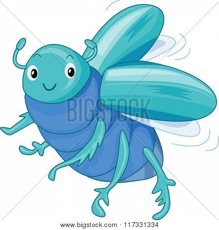 Illustration of a Cute Scarab Beetle Fluttering About