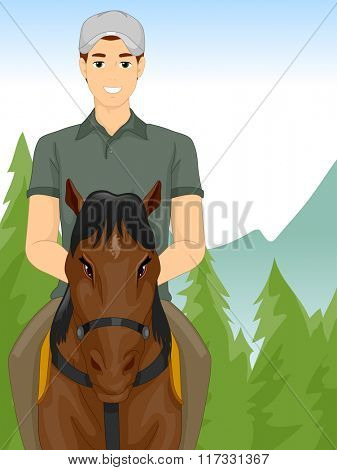 Illustration of a Man Taking a Horseback Riding Tour Across the Countryside