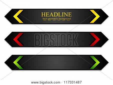 Tech corporate dark banners with bright arrows. Vector template design