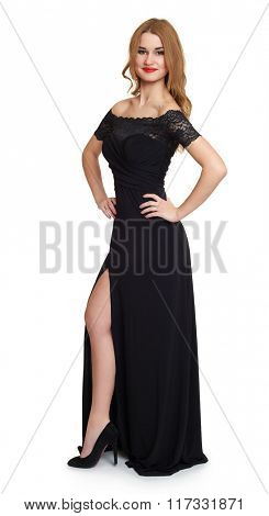 woman in black  gown on white