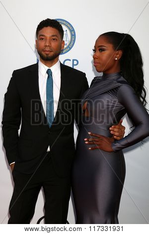 LOS ANGELES - FEB 5:  Jussie Smollett, Sevyn Streeter at the 47TH NAACP Image Awards Arrivals at the Pasadena Civic Auditorium on February 5, 2016 in Pasadena, CA
