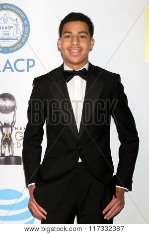LOS ANGELES - FEB 5:  Marcus Scribner at the 47TH NAACP Image Awards Arrivals at the Pasadena Civic Auditorium on February 5, 2016 in Pasadena, CA