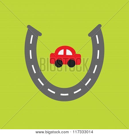 Background With Road White Marking And Cartoon Car. Horseshoe Shape. Template. Flat Design.