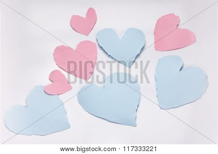 Beautiful Paper Hearts On White Paper Background.