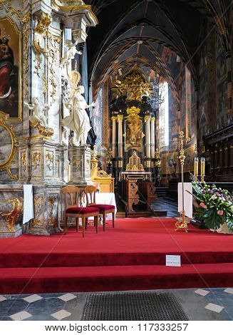 Sandomierz, Poland 16 October, 2015 .: The Interior Of The Cathedral In Sandomierz