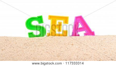 Sea Letters On A Beach Sand On A White