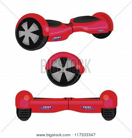 hoverboard hover board vector wheel device technology vehicle rie illustration red