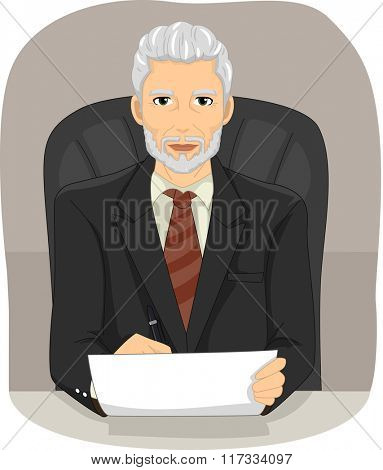 Illustration of an Elderly Businessman Sitting on an Executive Chair