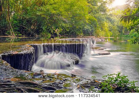 Waterfall In Rain Forest At National Park