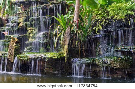Waterfall In Garden With Plant At Public Park