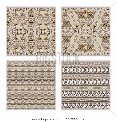 Vector Set Of Seamless Patterns. Ethnic Tribal Geometric Texture