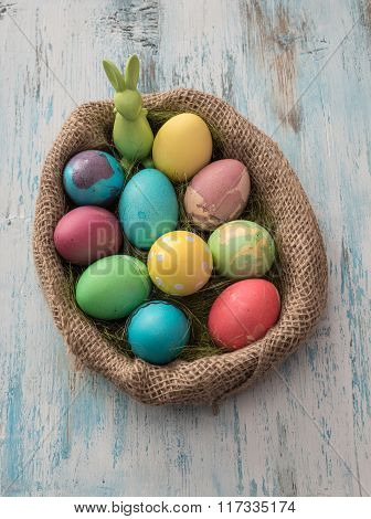 Easter Eggs Over Wooden Table - Selective Focus