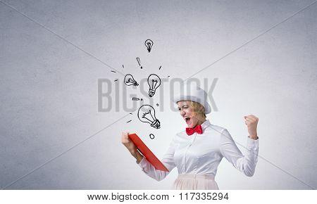 Girl mastering science