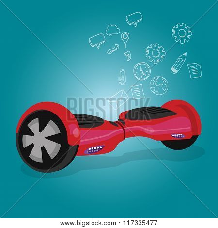 hoverboard hover board vector wheel device technology vehicle rie illustration red blue background