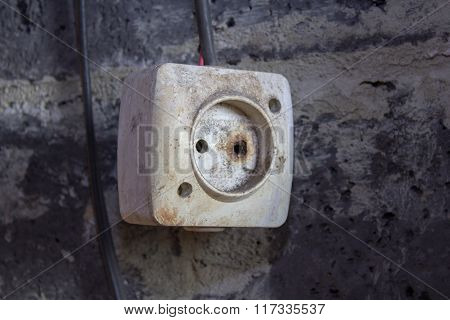 power sockets dirty burned