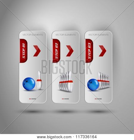 Realistic Bowling Objects On The Gray Business Banners As Design Infographic Elements.