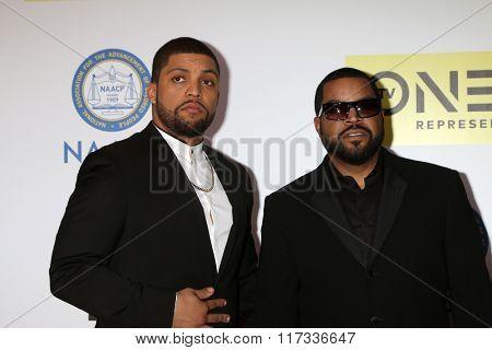 LOS ANGELES - FEB 5:  O'Shea Jackson Jr., Ice Cube at the 47TH NAACP Image Awards Arrivals at the Pasadena Civic Auditorium on February 5, 2016 in Pasadena, CA