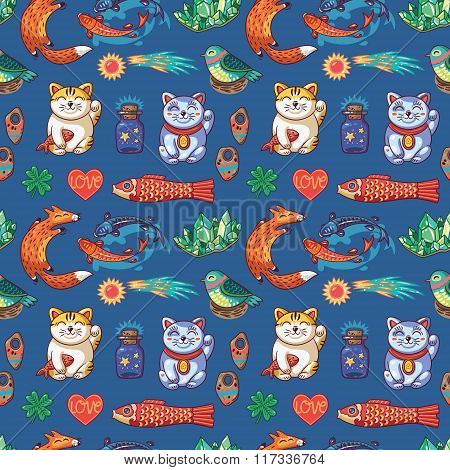 Seamless pattern with Good Luck charms