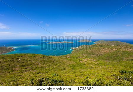 Aerial landscape of beautiful tropical coast of Virgin Gorda island at Caribbean