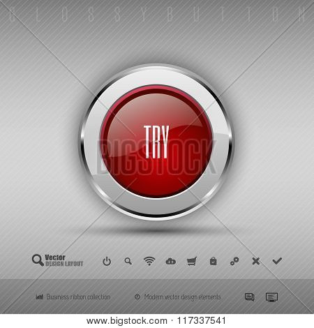 Vector Design Elements Red And Gray Glossy Button With Set Of Icons