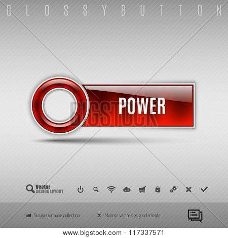 Red Plastic Button On The Gray Background. Vector Design Element.