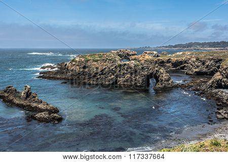 Natural arc along Mendocino coast, California