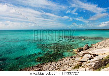 Glass window bridge and Caribbean sea on Eleuthera island Bahamas