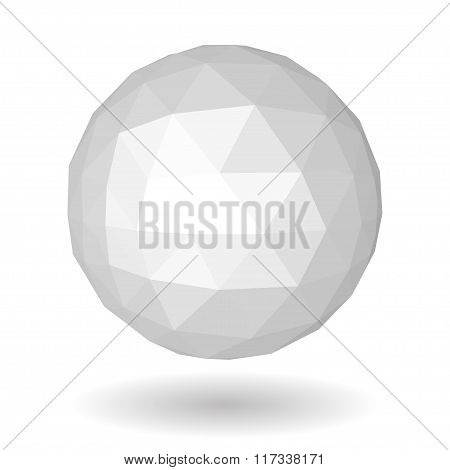 White Low Polygonal Sphere Of Triangular Faces