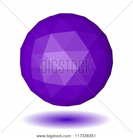 Violet Low Polygonal Sphere Of Triangular Faces