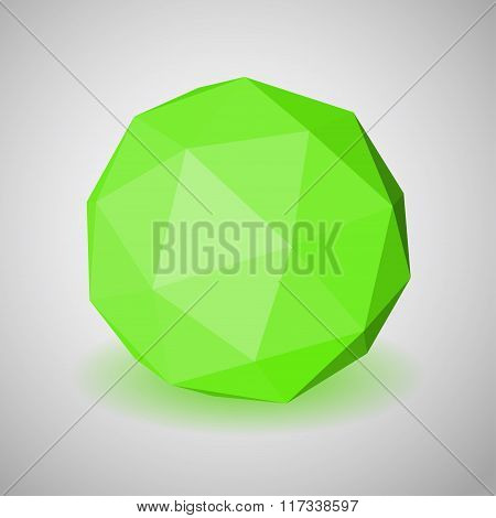 Green Low Polygonal Sphere Of Triangular Faces