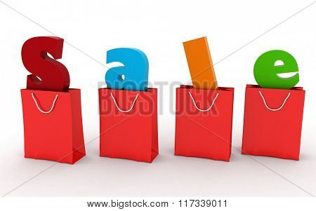 Red shopping bags with the inscription Sale inside, concept of discount over. 3D illustrations on a white background