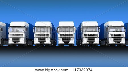 Trucks with semi-trailer isolated on blue sky background