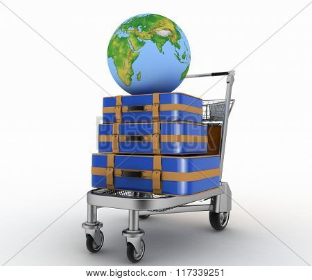 Transportation of earth and suitcases on a freight light cart. Elements of this image furnished by NASA.